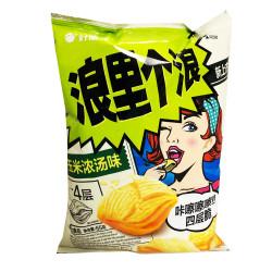 HaoLiYou Corn Soup Potato Chips / 浪里个浪玉米浓汤味薯片 - 65g