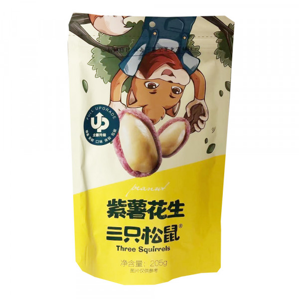 Three Squirrels Dried Peanut (Purple Sweet Potato Peanut Flavor) / 三只松鼠紫薯花生 - 205 g