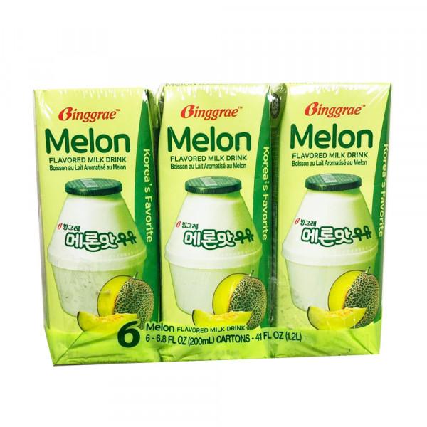 Binggrae Melon Flavour Milk Drink / Binggrae 甜瓜味牛奶饮料 - 6*200 mL