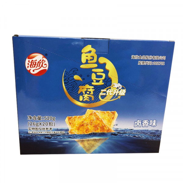 HaiXin Fish Tofu Chips (Braised) / 海欣鱼豆腐(卤香味) - 20*26g