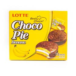 LOTTE Choco-Pie Banana /LOTTE 巧克力派--香蕉味 336g